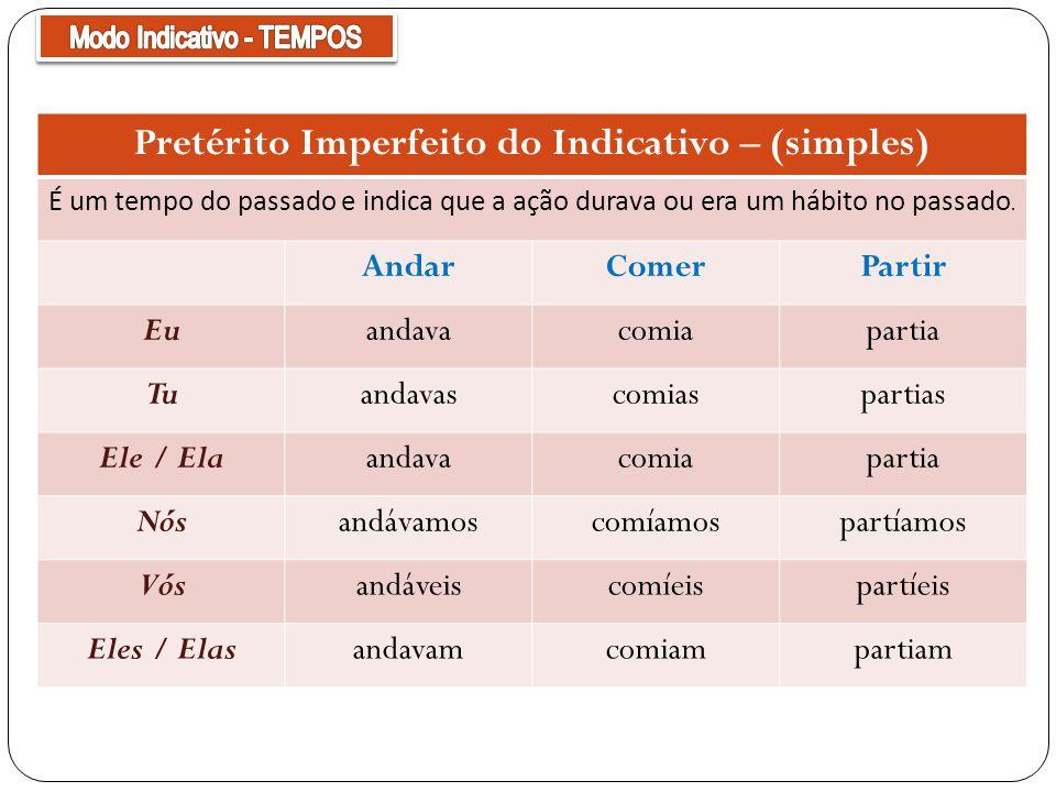 Pretérito Imperfeito do Indicativo – (simples)