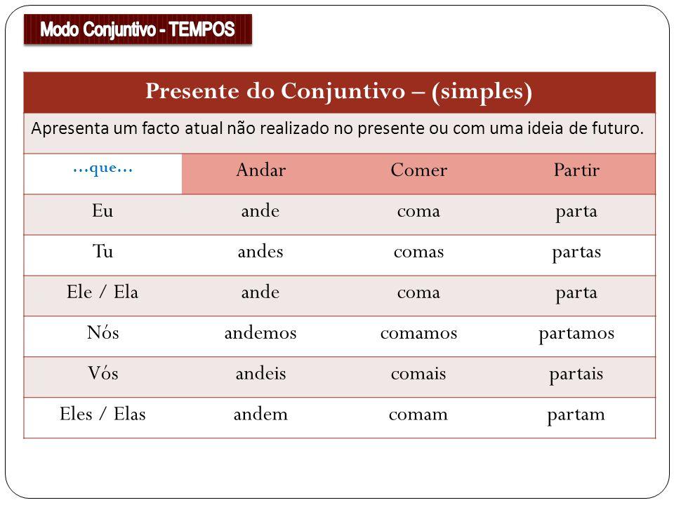 Presente do Conjuntivo – (simples)