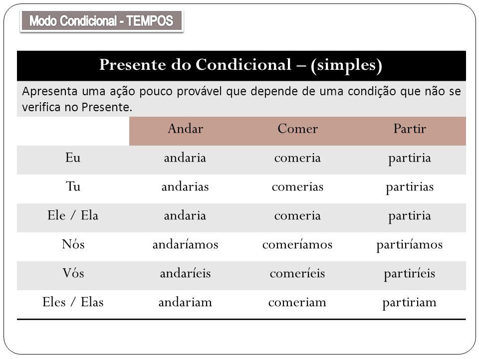 Presente do Condicional – (simples)