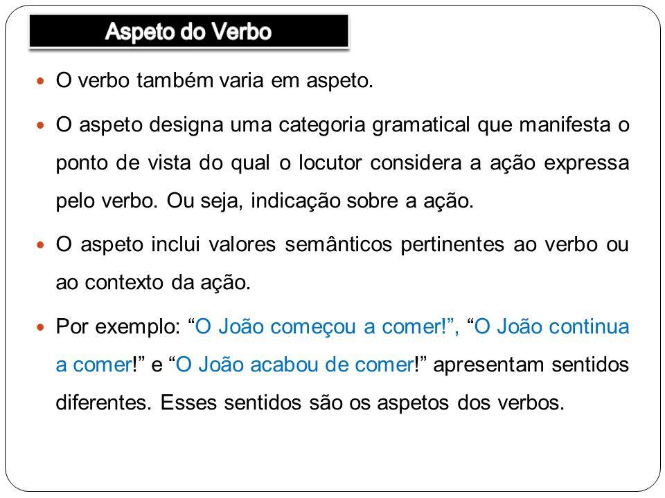 Aspeto do Verbo O verbo também varia em aspeto.