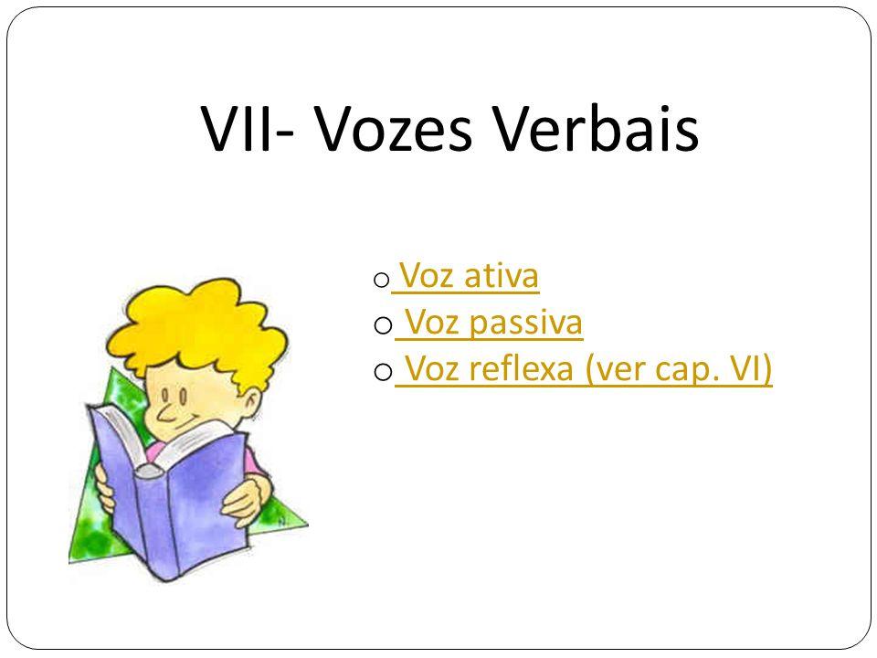 VII- Vozes Verbais Voz ativa Voz passiva Voz reflexa (ver cap. VI)