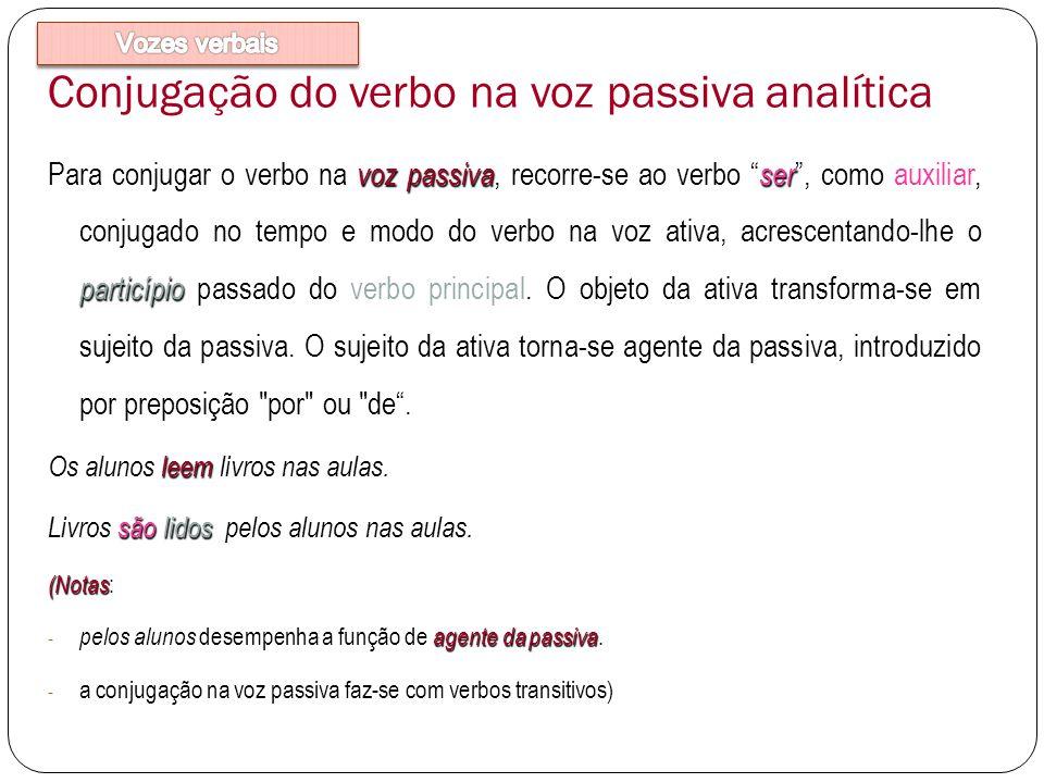 Conjugação do verbo na voz passiva analítica