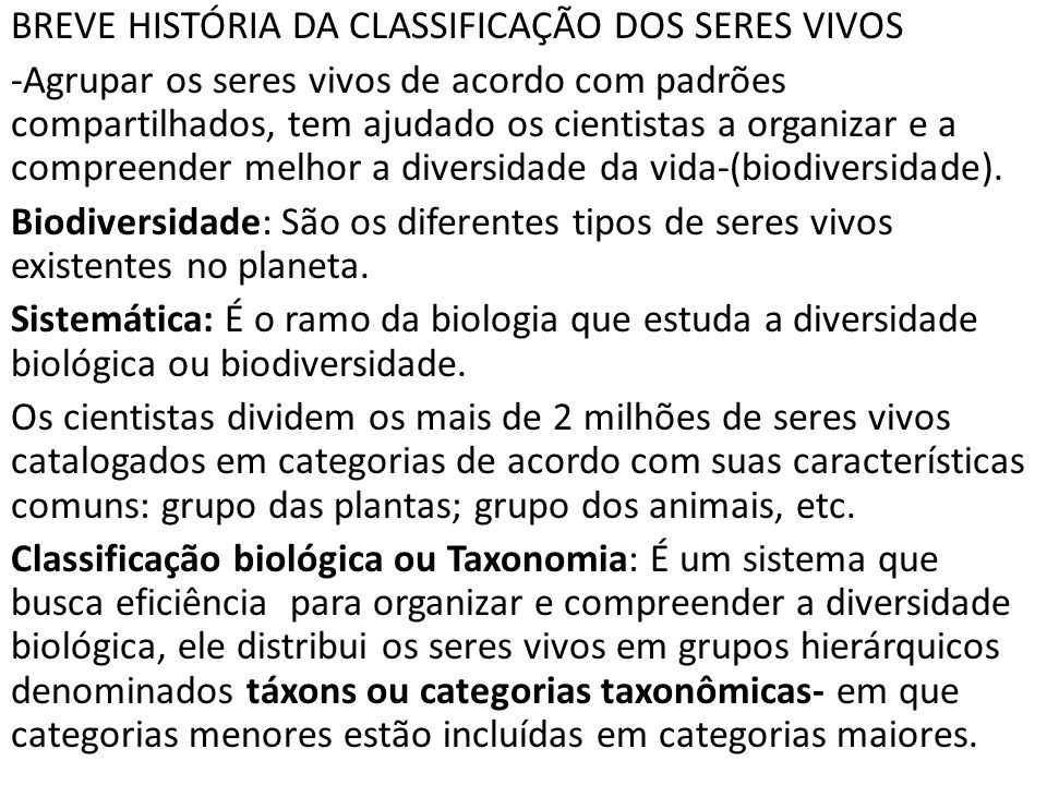 BREVE HISTÓRIA DA CLASSIFICAÇÃO DOS SERES VIVOS