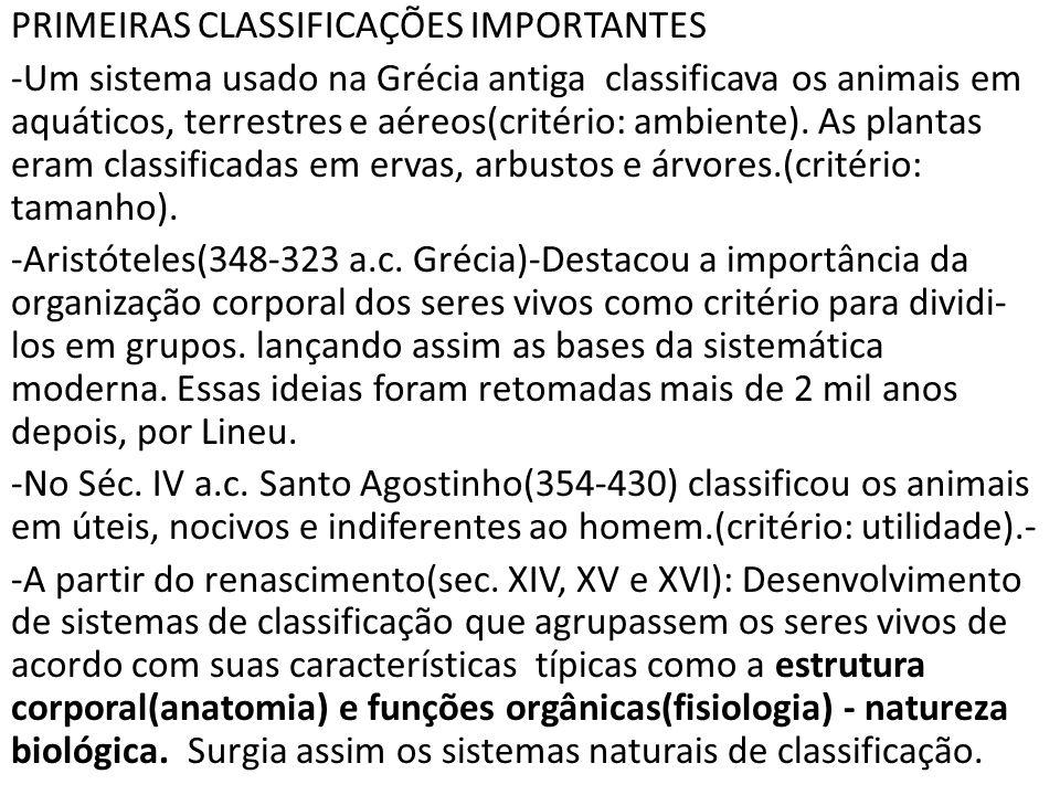 PRIMEIRAS CLASSIFICAÇÕES IMPORTANTES -Um sistema usado na Grécia antiga classificava os animais em aquáticos, terrestres e aéreos(critério: ambiente).