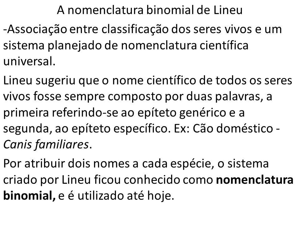 A nomenclatura binomial de Lineu -Associação entre classificação dos seres vivos e um sistema planejado de nomenclatura científica universal.