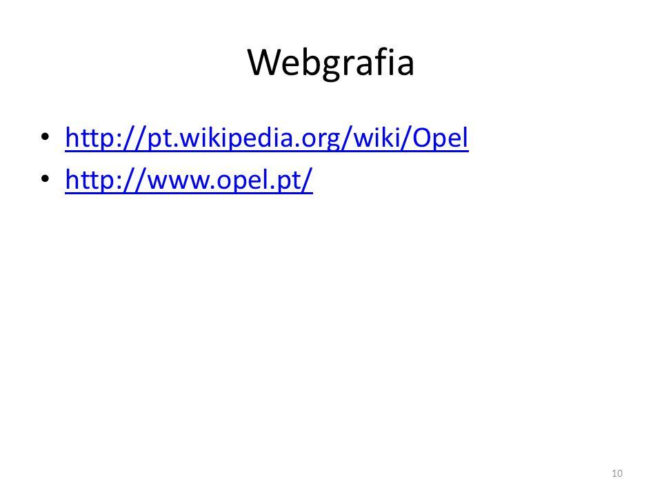 Webgrafia http://pt.wikipedia.org/wiki/Opel http://www.opel.pt/