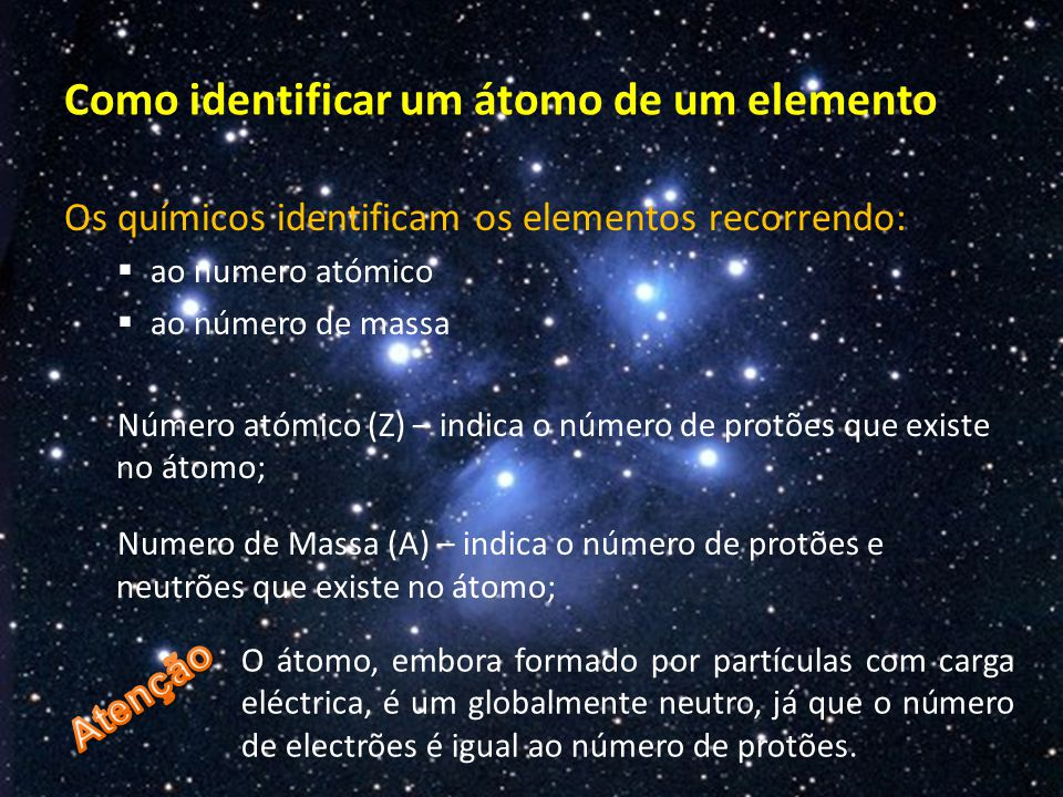 Como identificar um átomo de um elemento