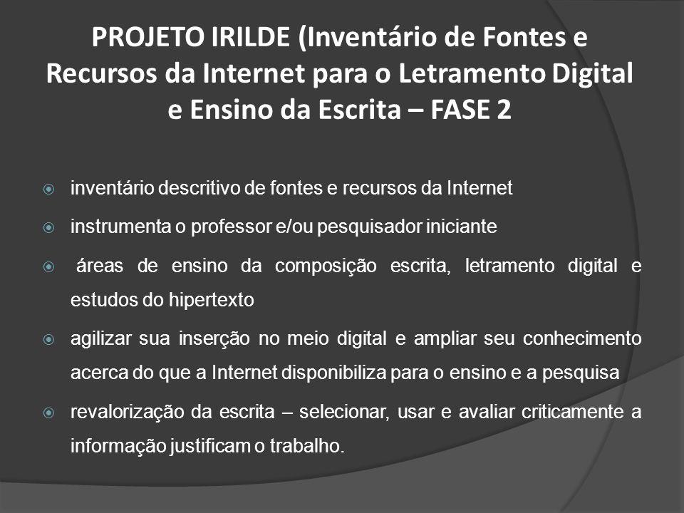 PROJETO IRILDE (Inventário de Fontes e Recursos da Internet para o Letramento Digital e Ensino da Escrita – FASE 2
