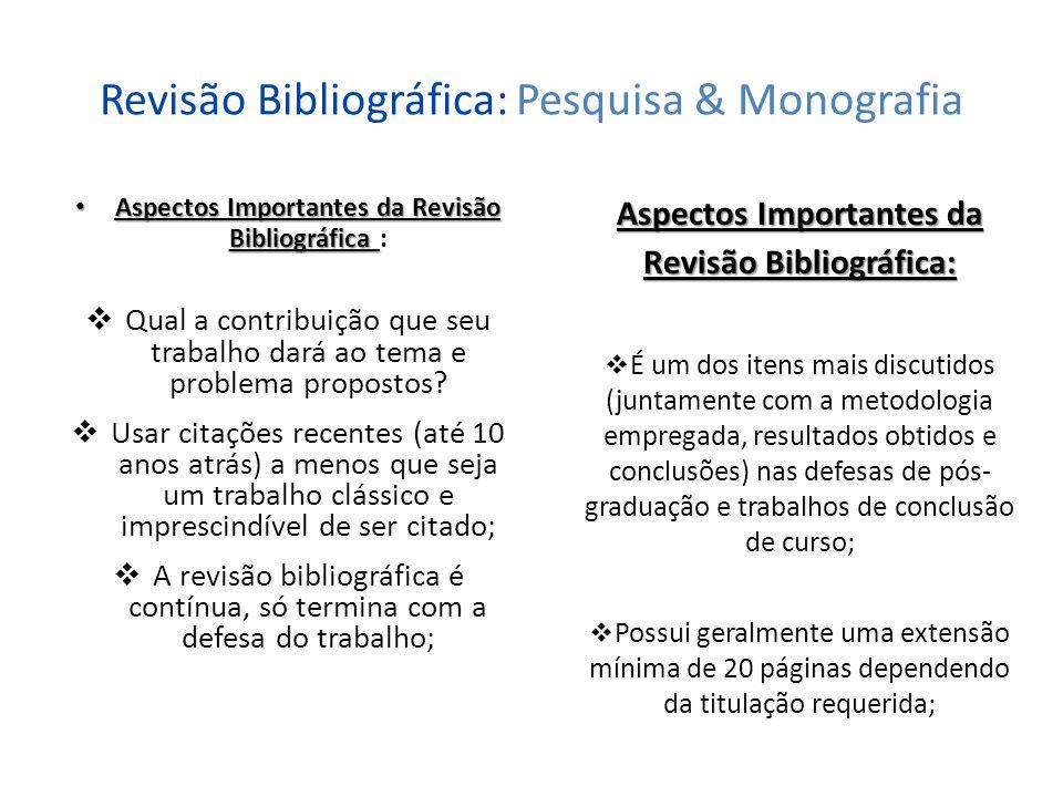 Revisão Bibliográfica: Pesquisa & Monografia