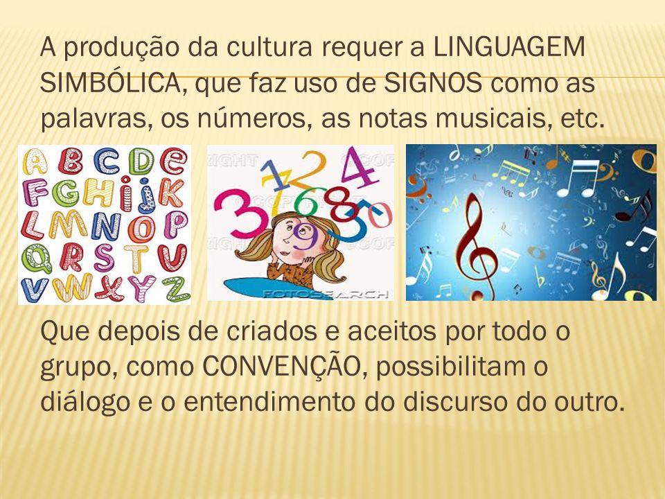 A produção da cultura requer a LINGUAGEM SIMBÓLICA, que faz uso de SIGNOS como as palavras, os números, as notas musicais, etc.