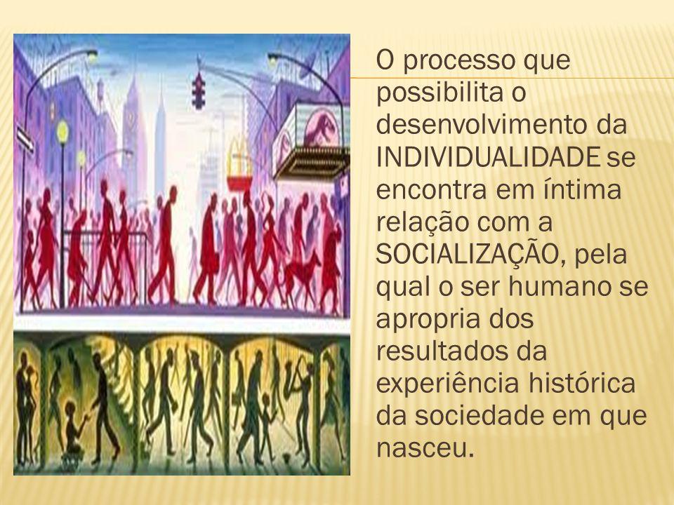 O processo que possibilita o desenvolvimento da INDIVIDUALIDADE se encontra em íntima relação com a SOCIALIZAÇÃO, pela qual o ser humano se apropria dos resultados da experiência histórica da sociedade em que nasceu.