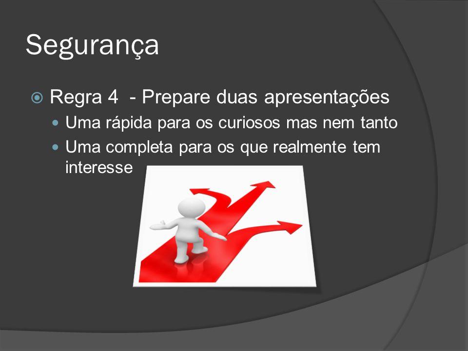 Segurança Regra 4 - Prepare duas apresentações