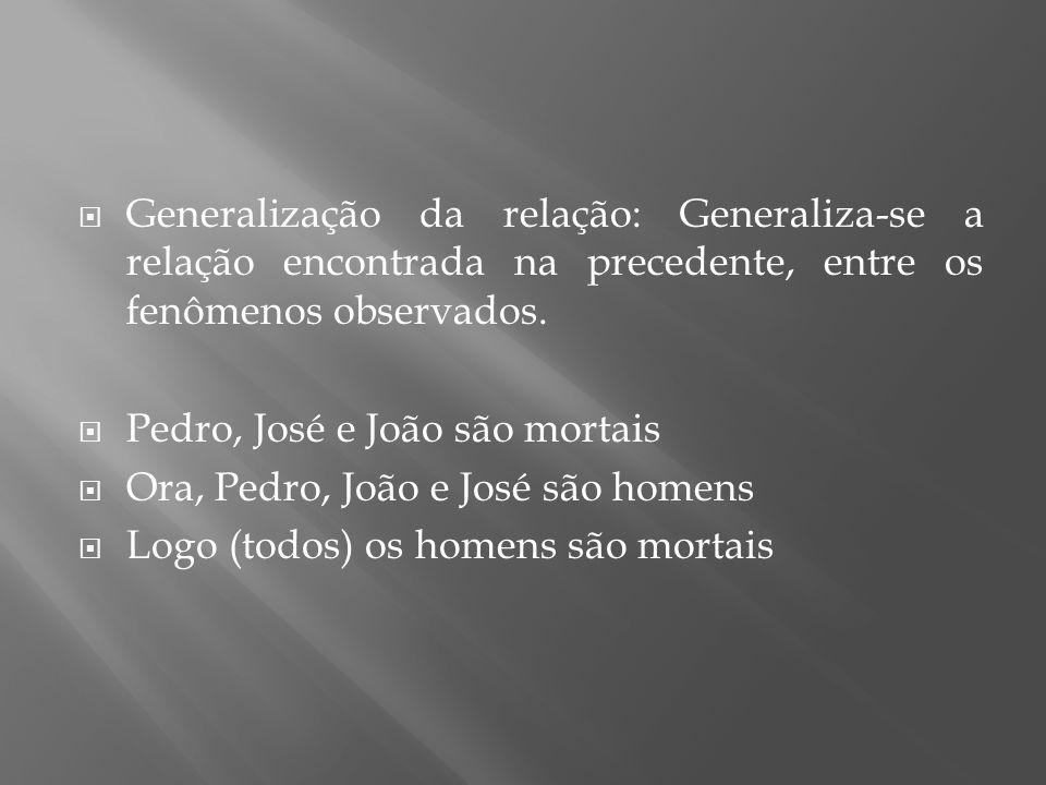 Generalização da relação: Generaliza-se a relação encontrada na precedente, entre os fenômenos observados.
