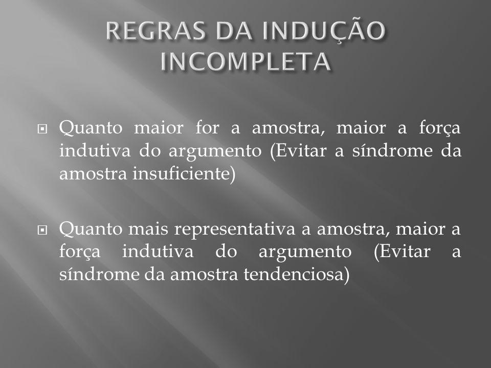 REGRAS DA INDUÇÃO INCOMPLETA
