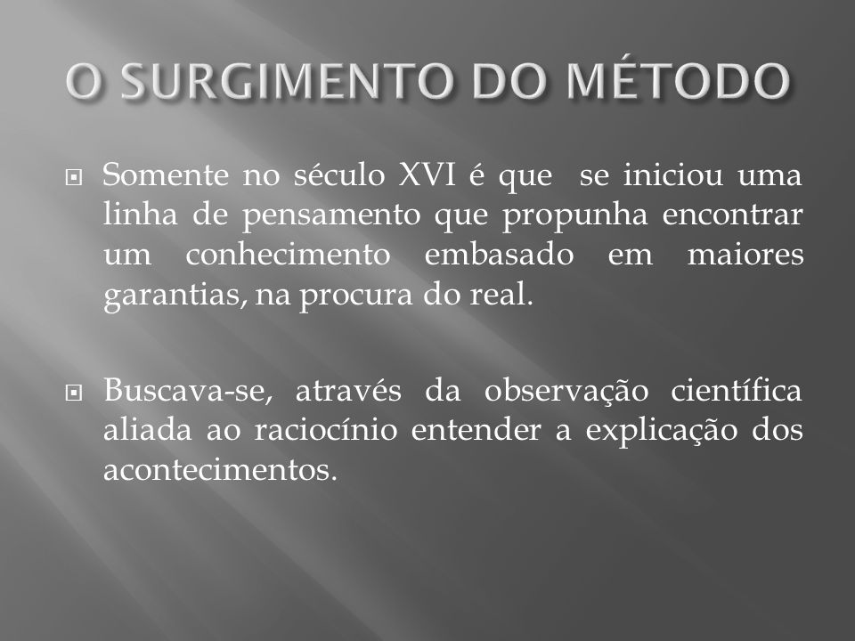 O SURGIMENTO DO MÉTODO