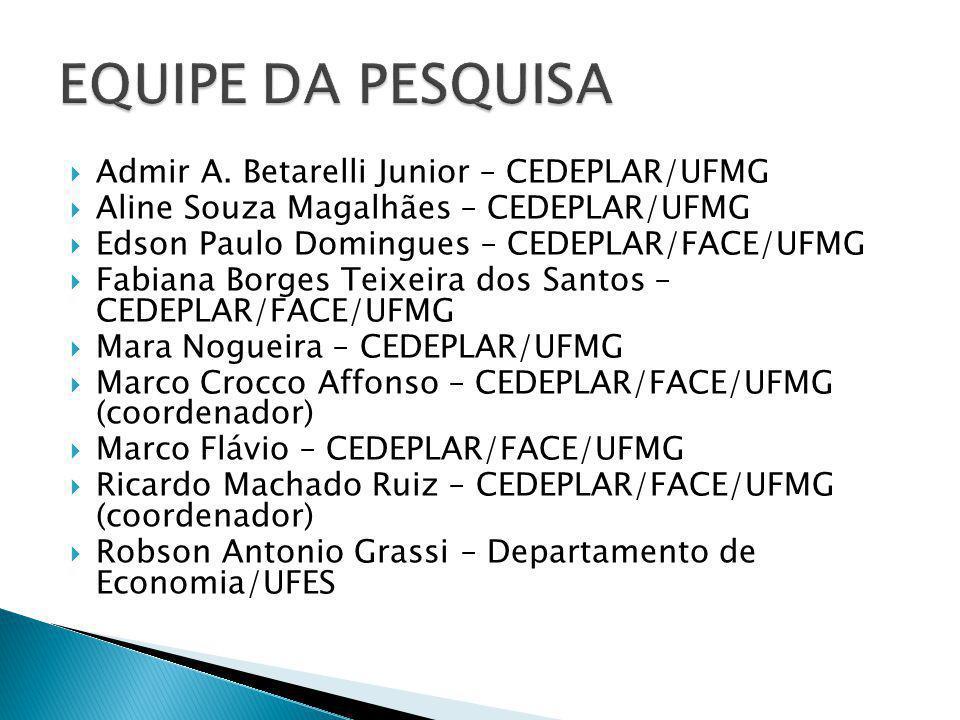 EQUIPE DA PESQUISA Admir A. Betarelli Junior – CEDEPLAR/UFMG