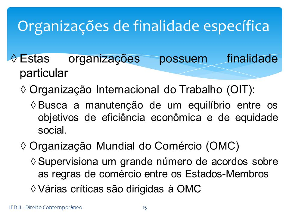 Organizações de finalidade específica