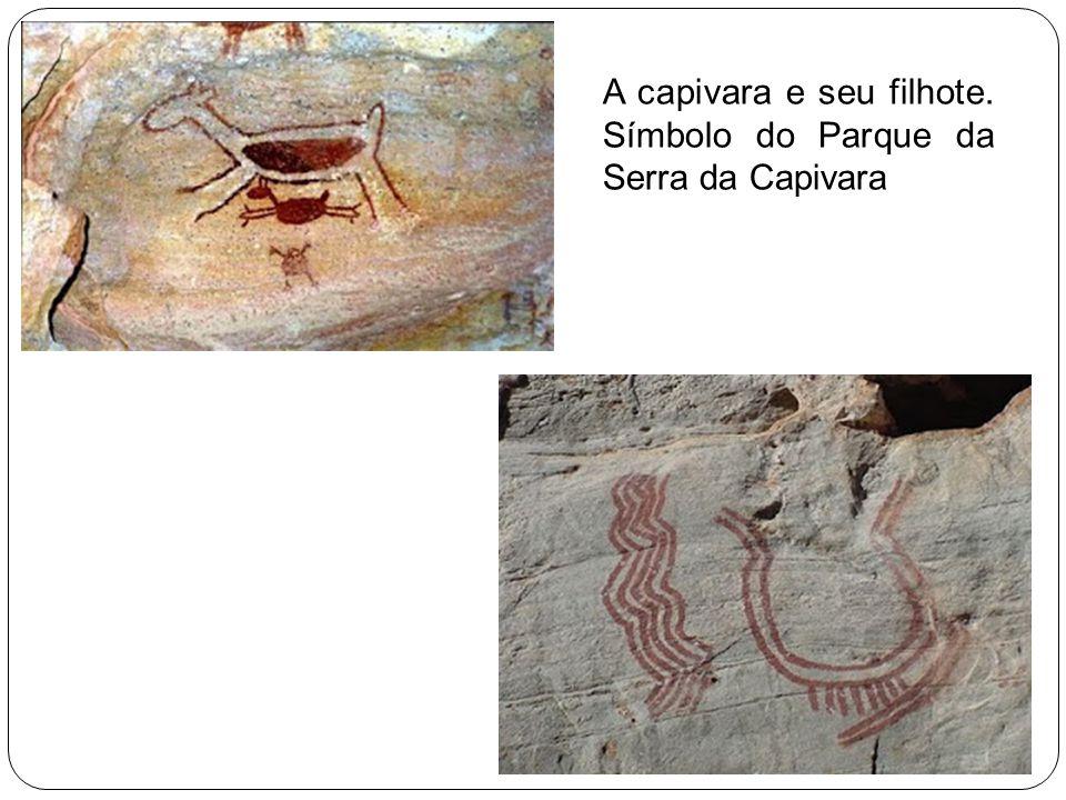 A capivara e seu filhote. Símbolo do Parque da Serra da Capivara