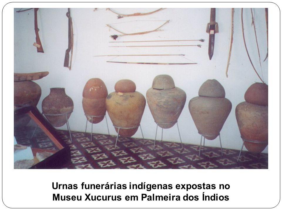 Urnas funerárias indígenas expostas no Museu Xucurus em Palmeira dos Índios