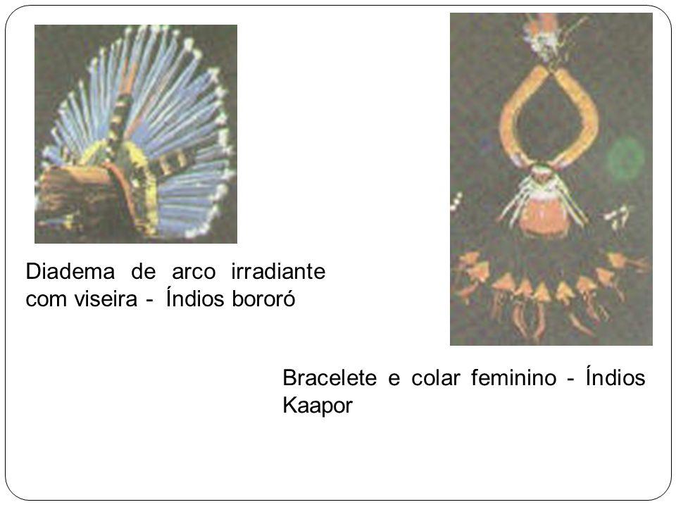 Diadema de arco irradiante com viseira - Índios bororó