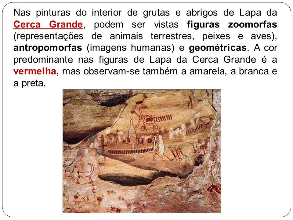 Nas pinturas do interior de grutas e abrigos de Lapa da Cerca Grande, podem ser vistas figuras zoomorfas (representações de animais terrestres, peixes e aves), antropomorfas (imagens humanas) e geométricas.