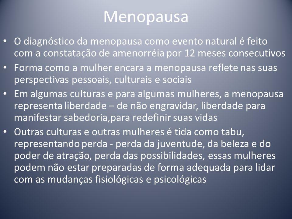 Menopausa O diagnóstico da menopausa como evento natural é feito com a constatação de amenorréia por 12 meses consecutivos.