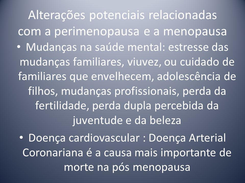 Alterações potenciais relacionadas com a perimenopausa e a menopausa