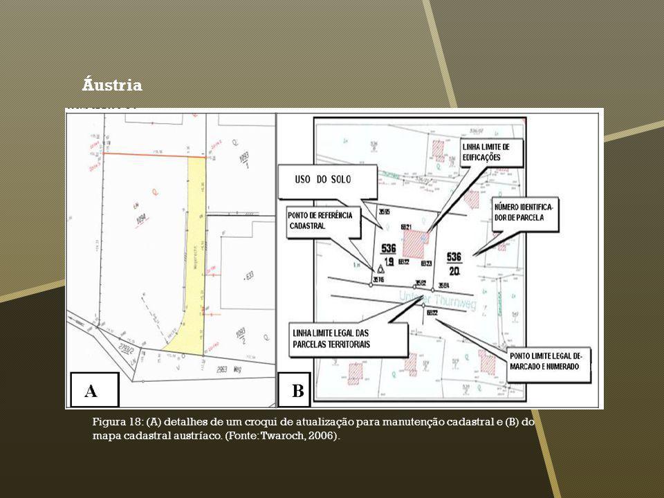 Áustria Figura 18: (A) detalhes de um croqui de atualização para manutenção cadastral e (B) do mapa cadastral austríaco.