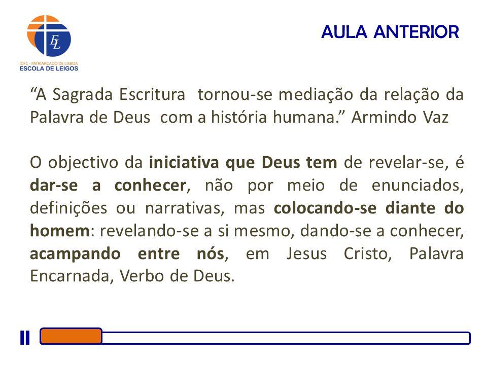 AULA ANTERIOR A Sagrada Escritura tornou-se mediação da relação da Palavra de Deus com a história humana. Armindo Vaz.