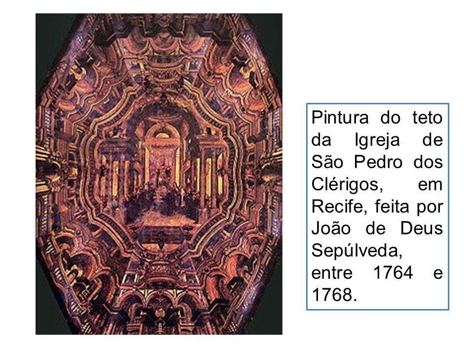 Pintura do teto da Igreja de São Pedro dos Clérigos, em Recife, feita por João de Deus Sepúlveda, entre 1764 e 1768.