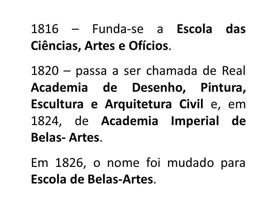 1816 – Funda-se a Escola das Ciências, Artes e Ofícios.