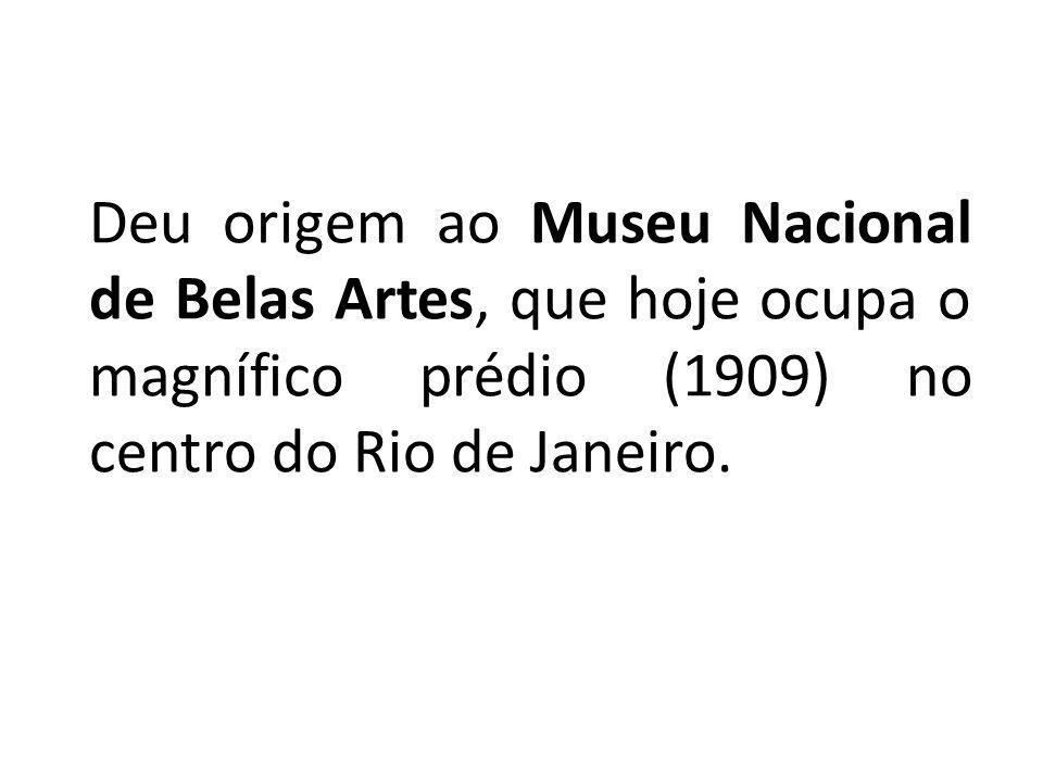 Deu origem ao Museu Nacional de Belas Artes, que hoje ocupa o magnífico prédio (1909) no centro do Rio de Janeiro.