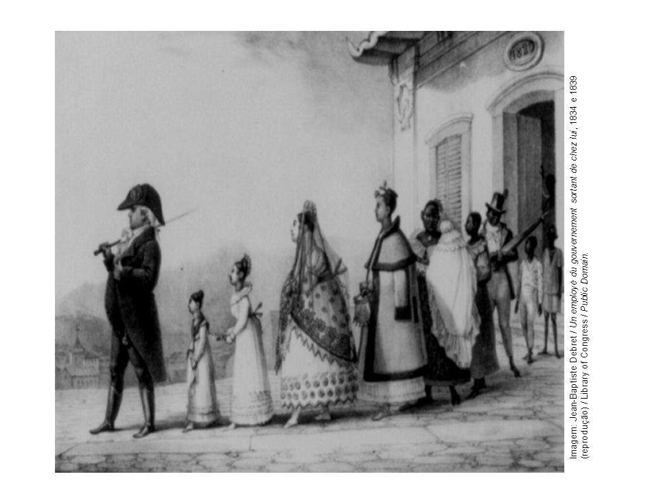 Imagem: Jean-Baptiste Debret / Un employé du gouvernement sortant de chez lui, 1834 e 1839 (reprodução) / Library of Congress / Public Domain.