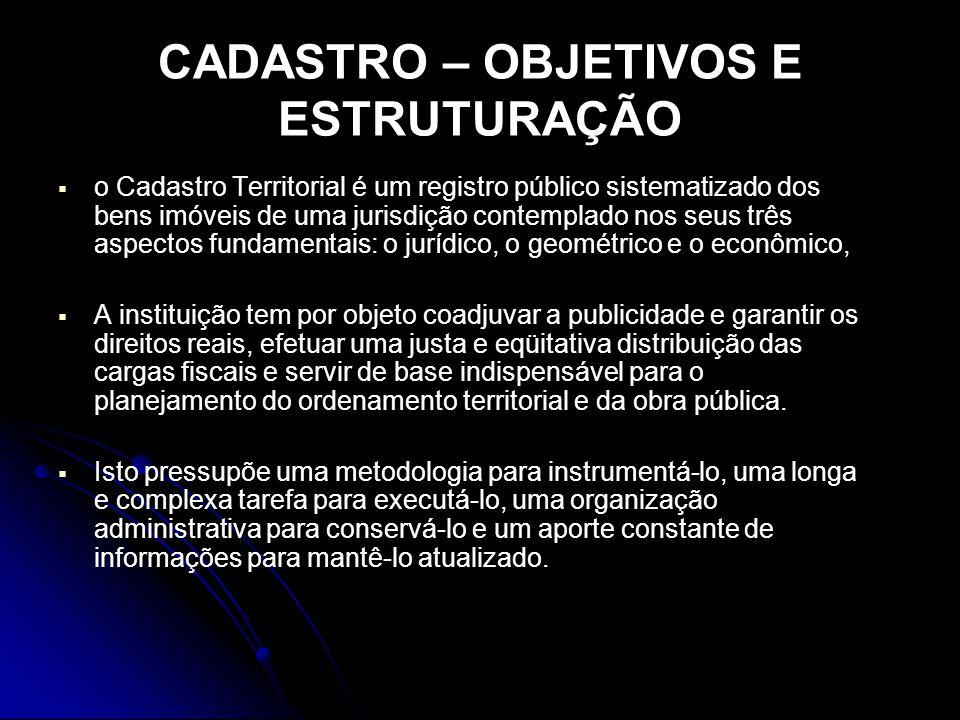 CADASTRO – OBJETIVOS E ESTRUTURAÇÃO
