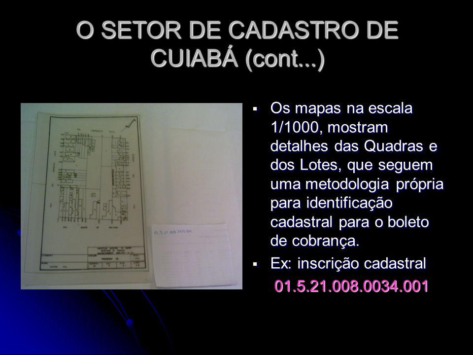 O SETOR DE CADASTRO DE CUIABÁ (cont...)