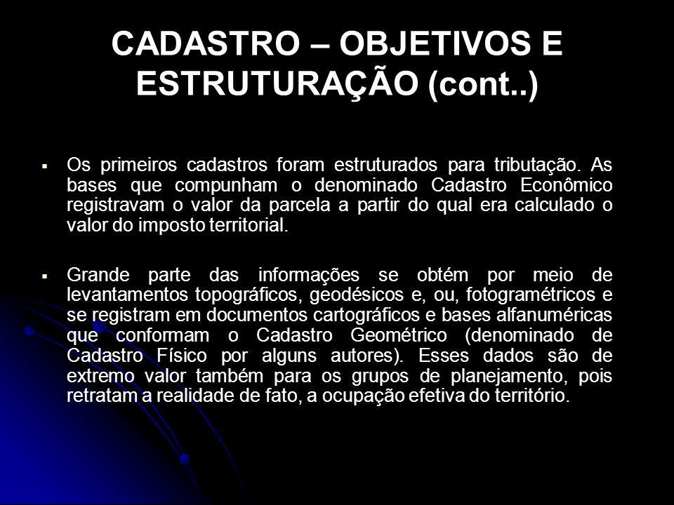 CADASTRO – OBJETIVOS E ESTRUTURAÇÃO (cont..)