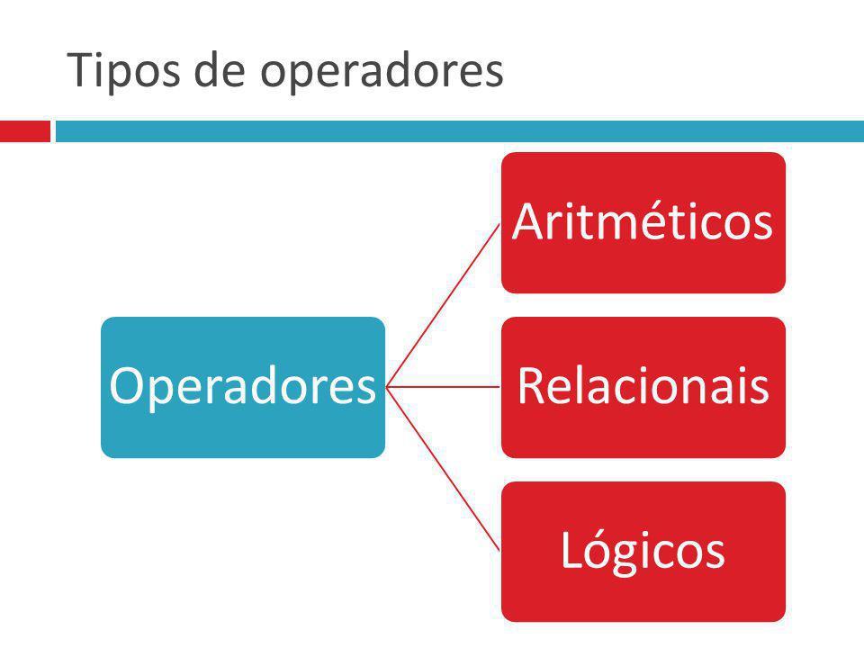 Tipos de operadores Operadores Aritméticos Relacionais Lógicos