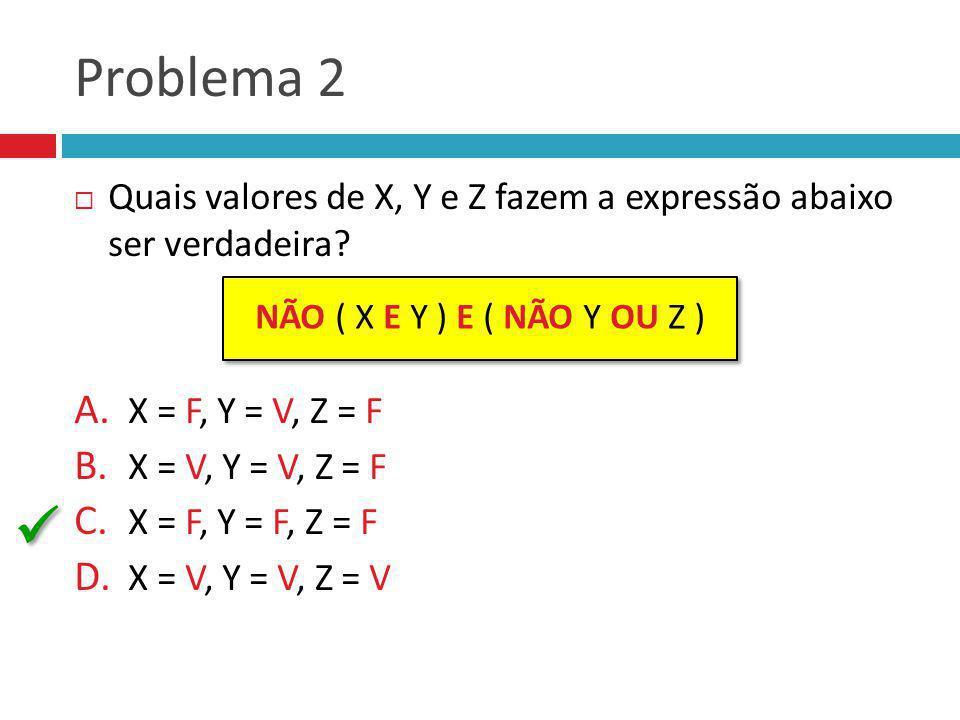 Problema 2 Quais valores de X, Y e Z fazem a expressão abaixo ser verdadeira X = F, Y = V, Z = F.