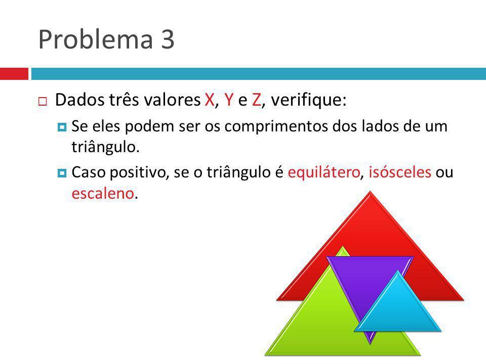 Problema 3 Dados três valores X, Y e Z, verifique: