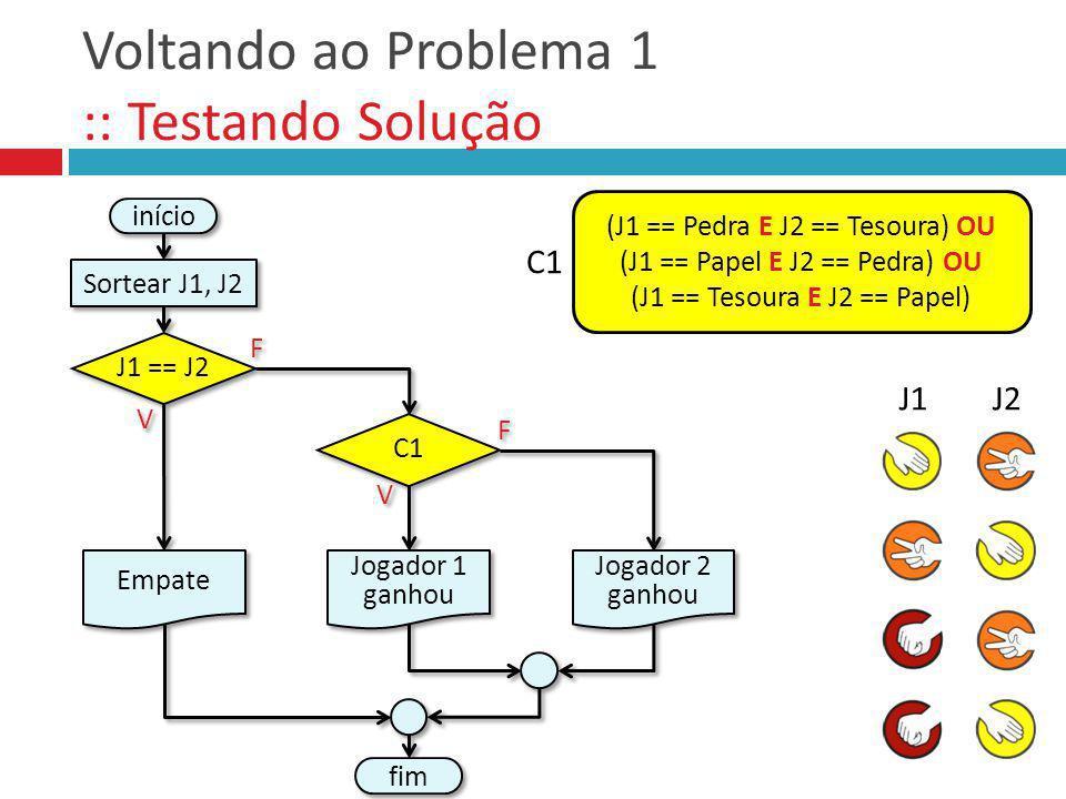 Voltando ao Problema 1 :: Testando Solução