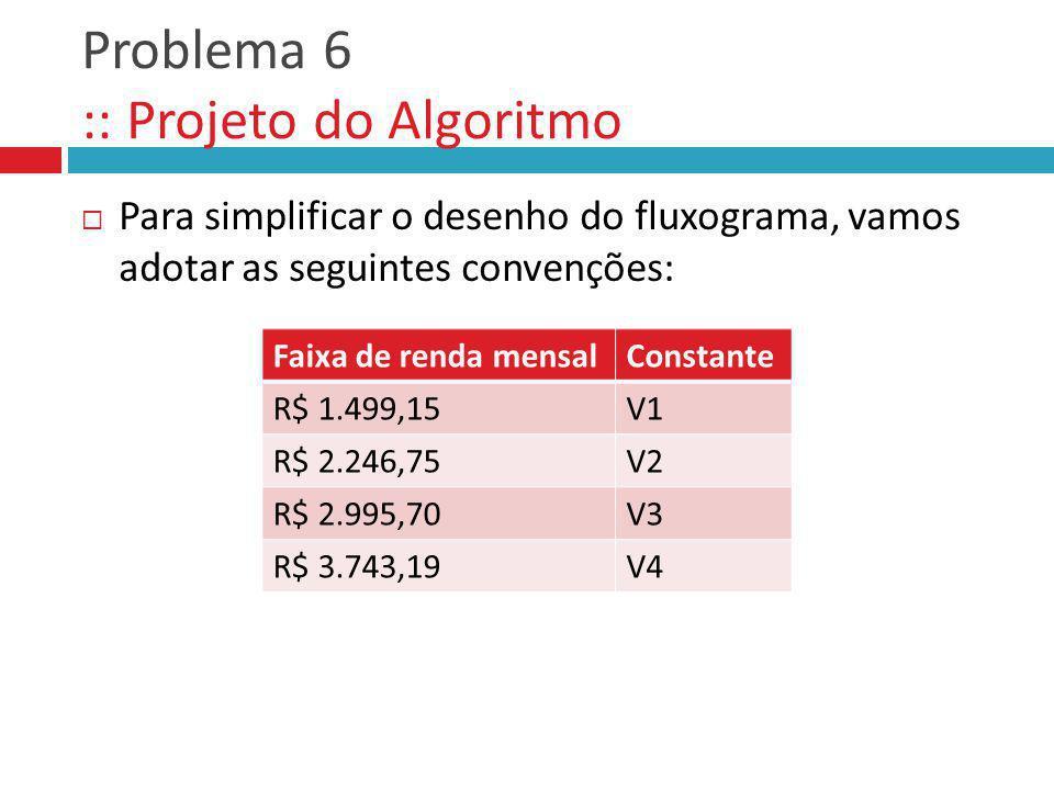 Problema 6 :: Projeto do Algoritmo