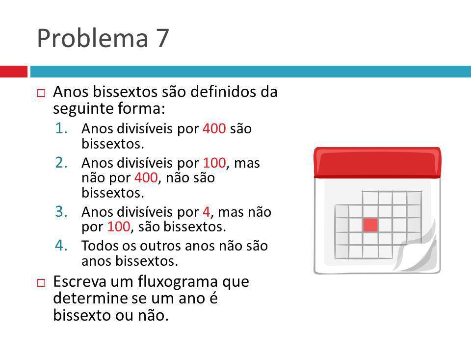 Problema 7 Anos bissextos são definidos da seguinte forma: