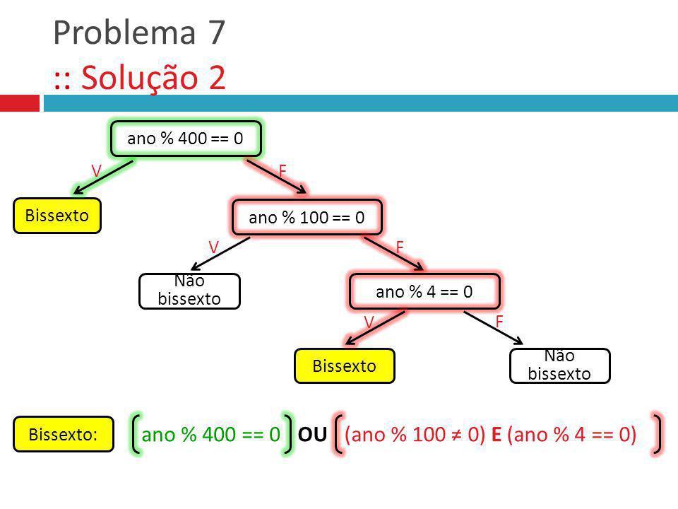 Problema 7 :: Solução 2 ano % 400 == 0 OU