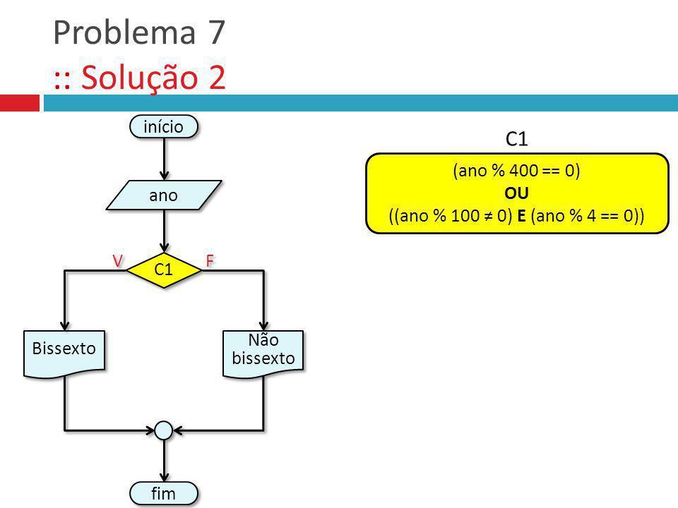 Problema 7 :: Solução 2 C1 início (ano % 400 == 0) OU