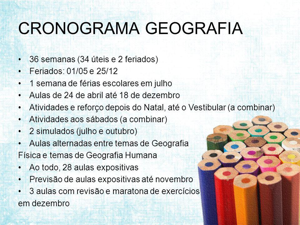 CRONOGRAMA GEOGRAFIA 36 semanas (34 úteis e 2 feriados)