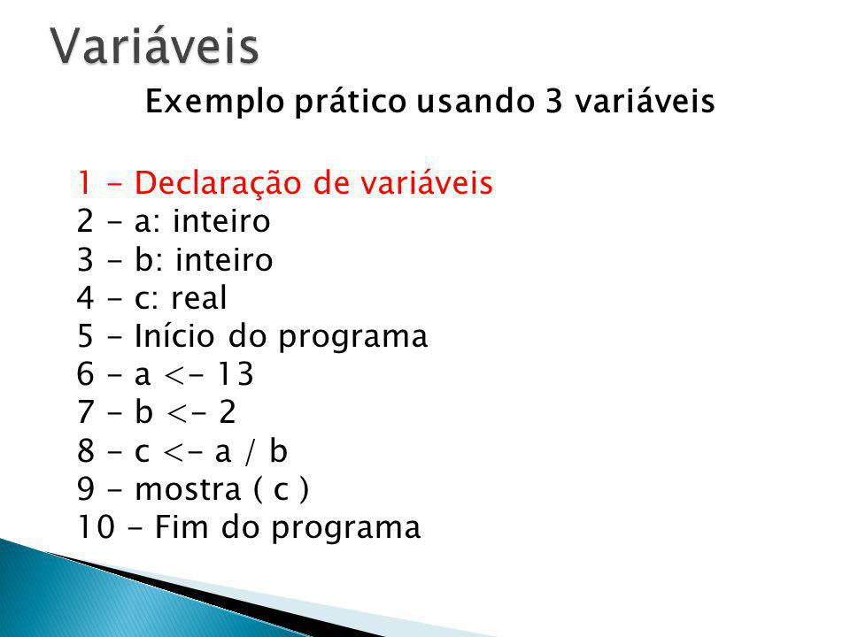 Exemplo prático usando 3 variáveis