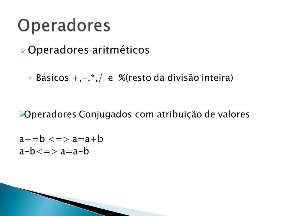 Operadores Operadores aritméticos