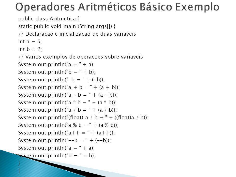 Operadores Aritméticos Básico Exemplo