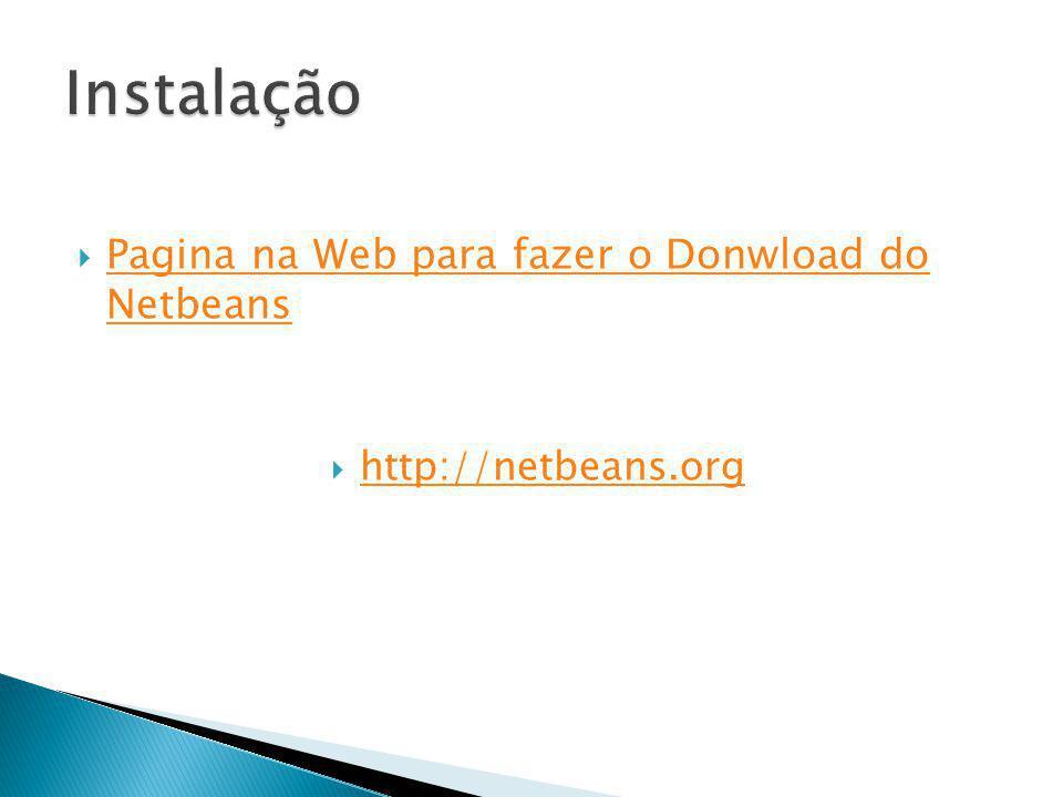 Instalação Pagina na Web para fazer o Donwload do Netbeans