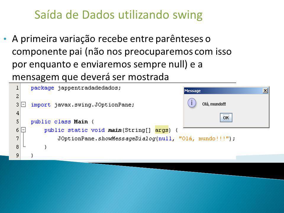 Saída de Dados utilizando swing